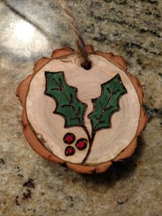 Rustic holly leaves wood burned Christmas ornament