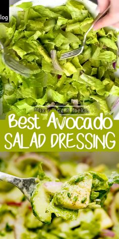Super Easy Cucumber Avocado Salad with the most delicious Avocado Salad Dressing from scratch.