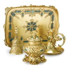 Continental gilt bronze and malachite desk set with the arms of the Prince of Liechtenstein, possibly Russian, circa 1840