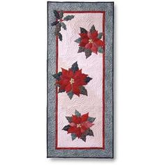 """Imagine a holiday table graced with elegant poinsettias. A subtle log cabin background with appliquéd holly and berries give it interest. Here's a day-long project that will have you ready for the holidays. It's so easy you'll want to make several for gifts. 16"""" x 38"""""""