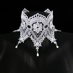 White Lace Choker Wide and beaded Bridal Wedding Ice by Arthlin Lace Embroidery, Lace Applique, White Lace Choker, Ice Queen, Lace Collar, Lace Weddings, Gothic Jewelry, Crochet Lace, Fashion Necklace