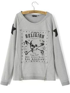 Grey Round Neck Skull Cool Print Zipper Sweatshirt 21.97
