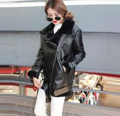 [TWOTWINSTYLE] 2017 winter thick leather fur jacket women basic coats long sleeves new motorcycle streetwear