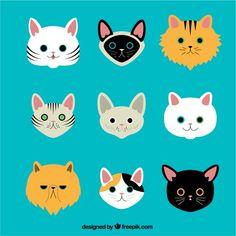 Variedad de razas de gatos Vector Premiu... | Premium Vector #Freepik #vector #animal #gato #mascota #ilustracion Gatos Vector, Domestic Cat Breeds, International Cat Day, Hugs And Cuddles, Cat Character, Cat Logo, Cat Crafts, Animal Faces, Cat Sitting