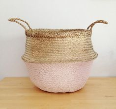 Metallic Gold and Salmon Pink Sea Grass Belly Basket Panier Boule Storage…