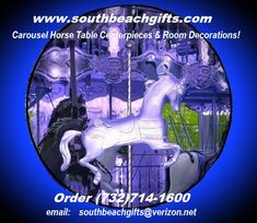 Blue silver carosel horse theme party Birthday, baby shower, Sweet 16 , party carnival circus amusement park theme event.. order 732-714-1600 http://www.southbeachgifts.com/Carousel_Horses_Reproductions.htm