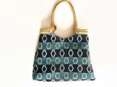 Teal and black tote bag, fashion shoulder bag, tapestry bag, teal and black…