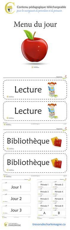 Ce dernier est un outil que vous utilisez au quotidien. Il fait partie de l'organisation de classe. Nous vous présentons notre menu du jour. plus d'informations en cliquant sur le lien suivant http://tresorsdecharlemagne.ca/  #enseignement #primaire #organisations