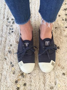 7874cc22d73e Vintage CHANEL CC Logos NAVY Fabric Sneakers Trainers Tennis shoes 42 us  9.5 - 10
