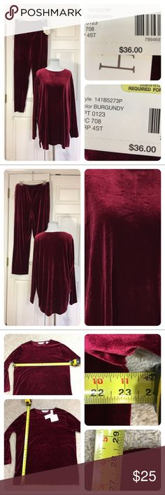 NWT! Bechamel velvet burgundy pant suit New with tags!  Bechamel burgundy velvet pant suit. Great for lunching, lounging or parties! bechamel Pants