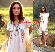 6 Anthropologie french Embroidered Boho Pompom Gauze Peasant Dress Lined #Anthropologie #swing
