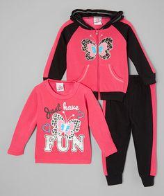 Hot Pink Butterfly Fleece Hoodie Set - Infant, Toddler & Girls #zulily #zulilyfinds