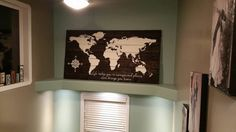 World Map Wood Sign  Oversized World Map Sign  by HamptonsNook