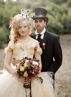 Steampunk Wedding. White shirt on groom with her in ivory - doesn't look so bad!