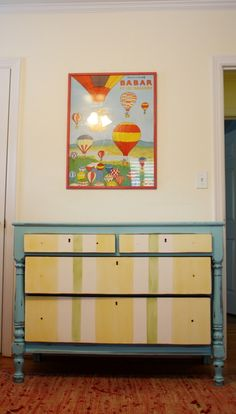 DIY painted dresser with stripes on drawers