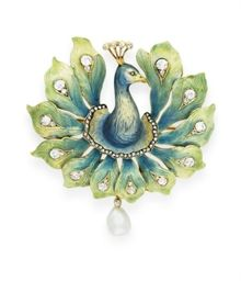 AN ART NOUVEAU ENAMEL, DIAMOND AND PEARL PEACOCK BROOCH  The blue and gold enamel head and neck with a rose-cut diamond eye and head feathers, extending blue and green enamel and gold peacock feathers enhanced by rose-cut and old mine-cut diamonds, suspending a baroque pearl, mounted in 18K gold, France, ca. 1900.