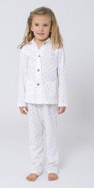 Pijama Largo para niña, tejido algodón, abierto con botones,cuello en pico, estampado estrellas. #pijamaniña #pijamaestrellas #pijamainvierno #pijamamangalarga #pyjamakids #LOHE