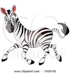 Zebra Clip Art   ... Free Vector Clip Art Illustration of a Running Adult Zebra by Pushkin