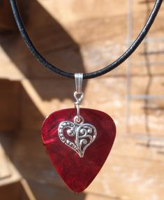 Leather Necklace - Victorian Heart Guitar Pick - Your Choice of 9 colors
