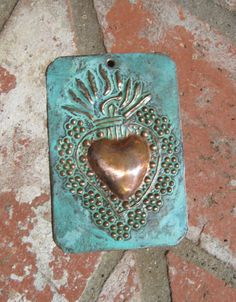 Copper Flaming Heart