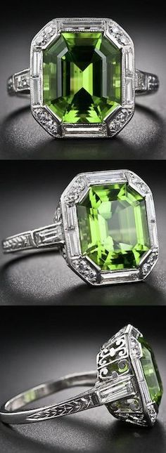 Art Deco Peridot, Platinum and Diamond Ring, A stunning and sophisticated Art De...