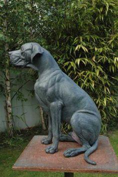 Bronze Garden Or Yard / Outside and Outdoor sculpture by artist Georgie Welch titled: 'Great Dane (half life size bronze Portrait Sitting sculpture statue)'