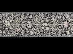 Border made in Venice Italy 1630-1640  needle lace worked in linen thread