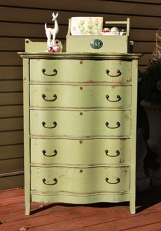 dresser painted with Miss Mustard Seed's Lucketts Green.