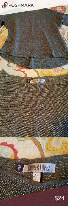 Jennifer Lopez sparkly sweater Beautiful gray sweater with silver sparkle thread Jennifer Lopez Sweaters