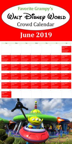 Disney Crowd Calendar for June How crowded are the Disney Parks in June? With school out every one heads to Orlando for some fun in the sun which makes the Magic Kingdom, Epcot, Hollywood Studios and Animal Kingdom crowded. Disney World Parks, Disney World Resorts, Family Fun Places, Disney Crowds, Disney World Crowd Calendar, Places In America, Hollywood Studios, Epcot, Magic Kingdom