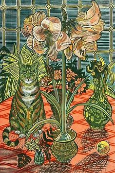 Richard Bawden: Amaryllis linocut 2012. I bought a set of postcards in these designs for my daughters -- not knowing that RB is Edward Bawden's son...