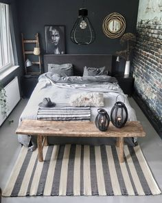 monochromatic room decor Source by guttonunesjk Decor Room, Home Decor Bedroom, Living Room Decor, Bedroom Ideas, Industrial Bedroom Decor, Mens Room Decor, Bedroom Furniture, Industrial Loft, Wall Decor
