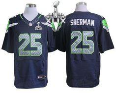Nike Seahawks #25 Richard Sherman Steel Blue Team Color Super Bowl XLIX Men's Stitched NFL Elite Jersey
