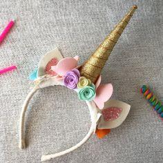 Corona de cumpleaños unicornio arco iris por FaisDoDoBoutique