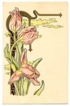 Tulips in nouveau Fleurs Art Nouveau, Motifs Art Nouveau, Design Art Nouveau, Art Nouveau Flowers, Art Nouveau Tattoo, Architecture Art Nouveau, Illustration Art Nouveau, Jugendstil Design, Illustrations
