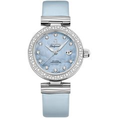 Omega De Ville Ladymatic 34mm 425.37.34.20.57.003 Watch found on Polyvore featuring jewelry, watches, stainless steel, white watches, stainless steel wrist watch, polish jewelry, omega jewelry and omega watches