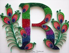 Peacock Theme Quilled Letter R Monogram