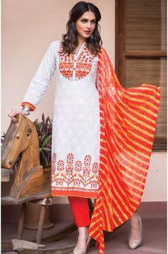Tacfab Exclusive Semi-Stitched Printed White and Orange Designer Cotton Salwar Kameez - BAN114  To shop here: http://goo.gl/sQ0erS