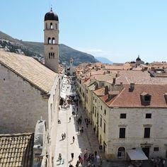 View of the #stradun in #Dubrovnik #DubrovnikBellTower #FranciscanMonasteryBellTower