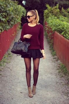 Crimson knit sweater, black lace skirt, nude ankle boots