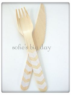 25 BRIGHT WHITE Chevron StripeHand Stamped Wooden by SofiesBigDay, $9.00