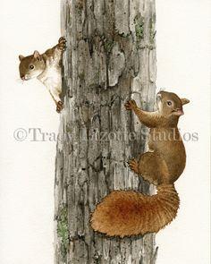 Squirrel Tag 8x10 archival watercolor door TracyLizotteStudios