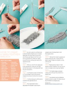 Diy handmade feather yarn embroidery floss bakers twine or even jute – Artofit Make a Yarn Feather Wreath How to handmake feathers with thread – Artofit Diy Macrame Earrings, Macrame Art, Macrame Knots, Macrame Jewelry, Macrame Projects, Collar Hippie, Feather Wreath, Ideias Diy, Yarn Crafts