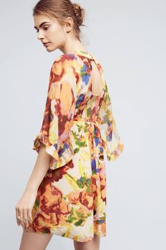 Slide View: 3: Deloria Printed Silk Dress
