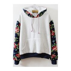 Rotita Pocket Design Long Sleeve Printed Grey Hoodie (35 CAD) ❤ liked on Polyvore featuring tops, hoodies, sweaters, shirts, jackets, grey, grey long sleeve shirt, hooded pullover sweatshirt, hooded sweatshirt and grey shirt
