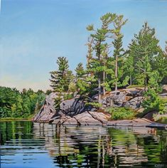 Acrylic on Gallery Canvas Grundy Lake Provincial Park Available at Koyman Gallery Landscape Quilts, Landscape Art, Landscape Paintings, Forest Landscape, Lake Painting, Stone Painting, Painting Trees, Amazing Paintings, Amazing Art
