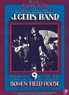 Eastern Michigan University - Bowen Field House 3/9/73 This image was designed to promote a J. Geils show at Eastern Michigan University in 1973. It is a big, bold poster that grabs your attention with its large photo and maroon color. Many of the Michigan items were not saved and are quite scarce today'this poster is no exception. Artist:  Gary Grimshaw