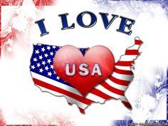 I Love Usa. Wallpaper. Yo amo a Estados Unidos. Mapa de Estados Unidos, con su bandera y un corazón rojo.