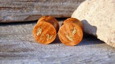 11mm Black Cherry burl wood ear plugs, Gold flake inlay,  hand turned 7/16ths inch gauge plugs by MustLoveWoodPlugs on Etsy