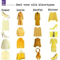 Geel/ geeltinten voor alle kleurtypes.